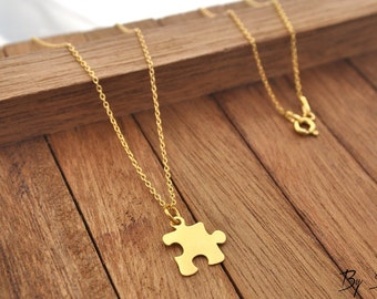Sterling Silver Puzzle Necklace gold plated, Puzzle Charm, Puzzle Necklace, Puzzle Piece Pendant, Puzzle Necklace, Puzzle Piece, Silver Puzz