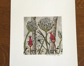 Whimsical Watercolor and Pen Print Reproduced from Original Art