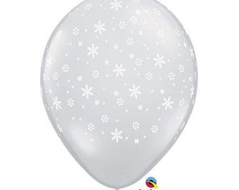 "11"" Clear Snowflake Print Balloons: Winter Onederland, Wedding, Shower, Birthday, Baby, Graduation, 1st Birth, Spring Celebration, Prom"