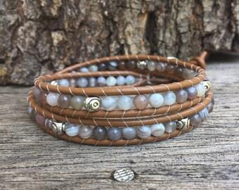 Botswana Agate Leather Wrap Bracelet