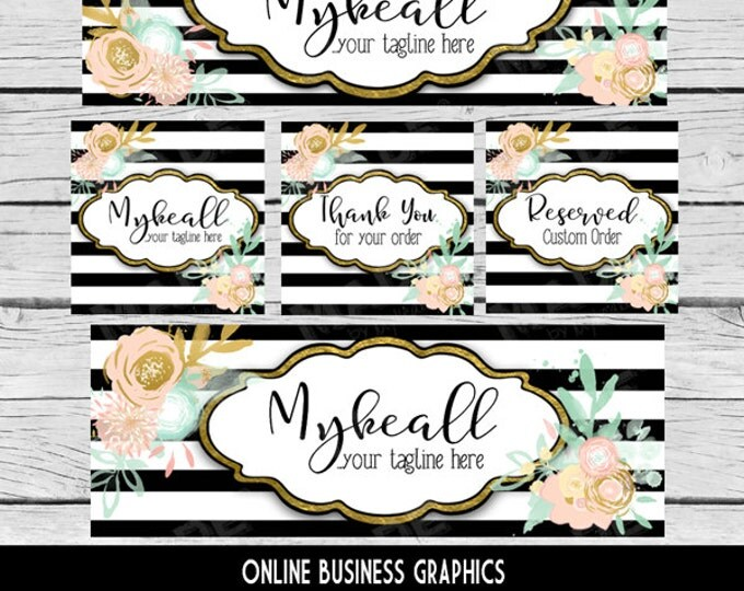 ETSY & SOCIAL MEDIA Set - Mykeall Design - Black White Gold Striped Floral, Watercolor Etsy Set, Etsy Banner Set, Digital, Business