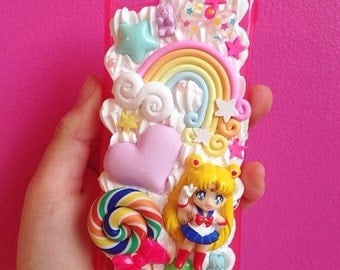 Kawaii Decoden Case Sailor Moon for any Device - Pastel whipped cream case