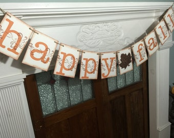 Happy Fall Banner, Fall Banner, Happy Fall Sign, Rustic Thanksgiving Decoration, Autumn Photo Prop