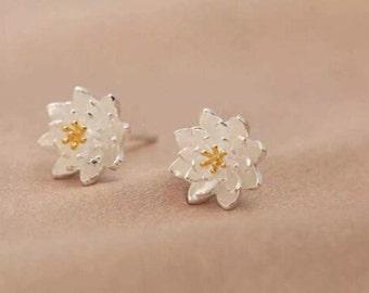 Flower Stud Earrings,Tiny Lotus Ear Studs,925 Silver Stud Earrings,ER012,Handmade Flower Earrings
