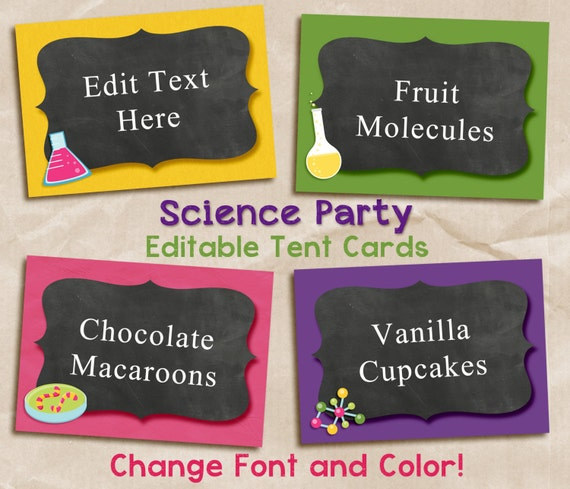 Editable tent cards. Editable science tent cards. Food cards.