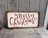Merry Christmas  Wood Sign Christmas Sign CUSTOM COLORS AVAILABLE