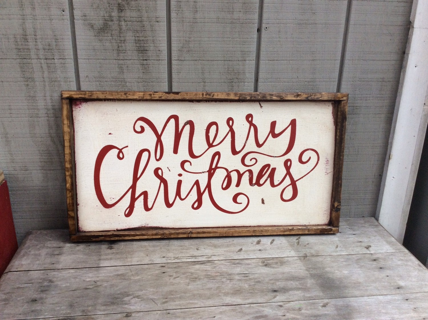 Merry christmas wood sign by