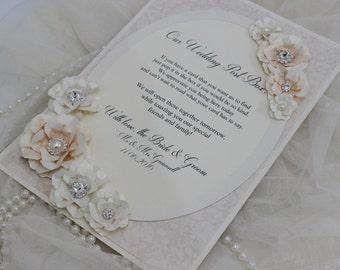 A4 Peach and Ivory post box, wedding post box, post box sign, DIY bride, peach wedding decor, post box poem