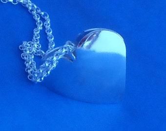 Pillow Heart Pendant Sterling Silver Handmade Great gift for Weddings, Birthday & Christmas