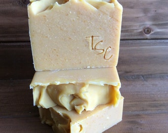 Carrot & Honey Soap Bar, unscented, handmade, cold process soap