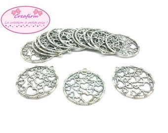 20 charms round silver hearts