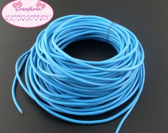 Cord leather genuine blue 2 mm - 10 m