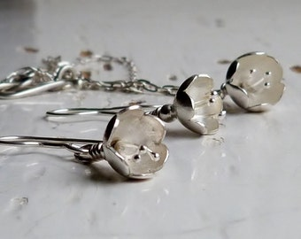 Sterling Silver Flower Necklace and Earring Jewellery, Hallmarked Jewellery, Gift Set, Botanical Jeweller, Organic Jewellery