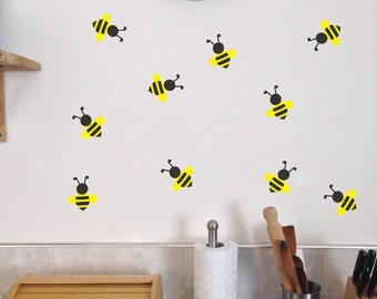 Bee Wall Decals Set Of 10 Summer Kitchen Bedroom Playroom Stickers Removable Bees Honey