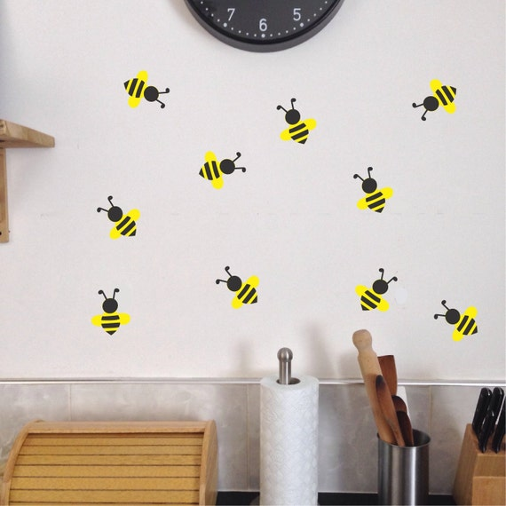 Items similar to bee wall decals set of 10 summer for Bumble bee mural