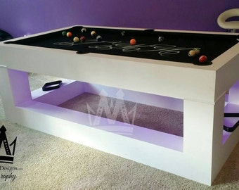 The Mraba Billiards Pool Table that Glow's in the dark with Purple L.E.D Lighting ! !
