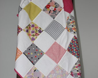 Modern Baby Quilt - Minky Baby Quilt - Handmade Quilt - Multi-color Quilt