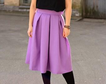 Purple pleated skirt/ Romance skirt / Lavender skirt / Violet midi skirt / Bow skirt / High waisted skirt