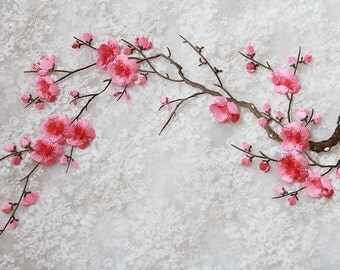 Plum Flower Applique,Iron-on Lace Embroidery Applique,Adhesive Headpiece Applique,For DIY Dress,For Fashion,Bridal Hair Accessories