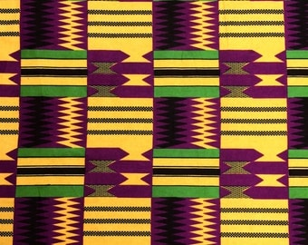 Kente African Print Fabric Cotton Print 44'' wide By The Yard (19004-6)