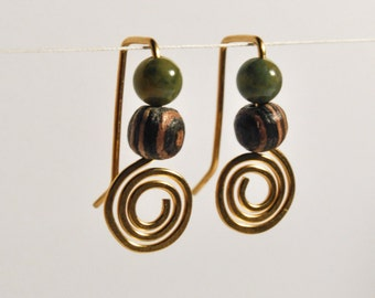 Baby Swirl Brass Earrings with Green and Brown Beads