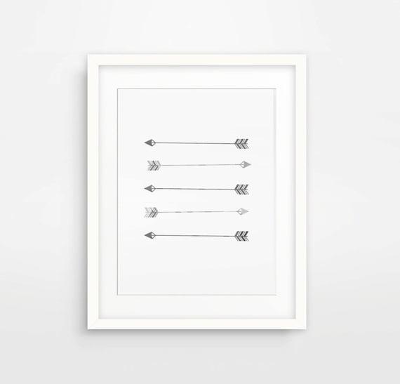 Grey Arrow Wall Decor : Grey arrow art monochrome print arrows wall by mtandbb