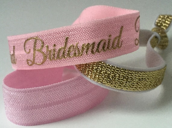 Pink and Gold Bridemaid Hair Tie Set