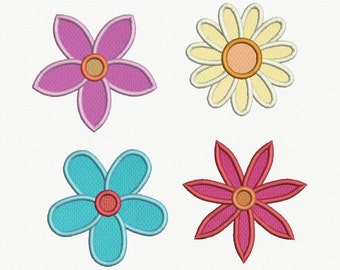 Flowers Applique Machine Embroidery Design - 4 Designs by 2 Sizes