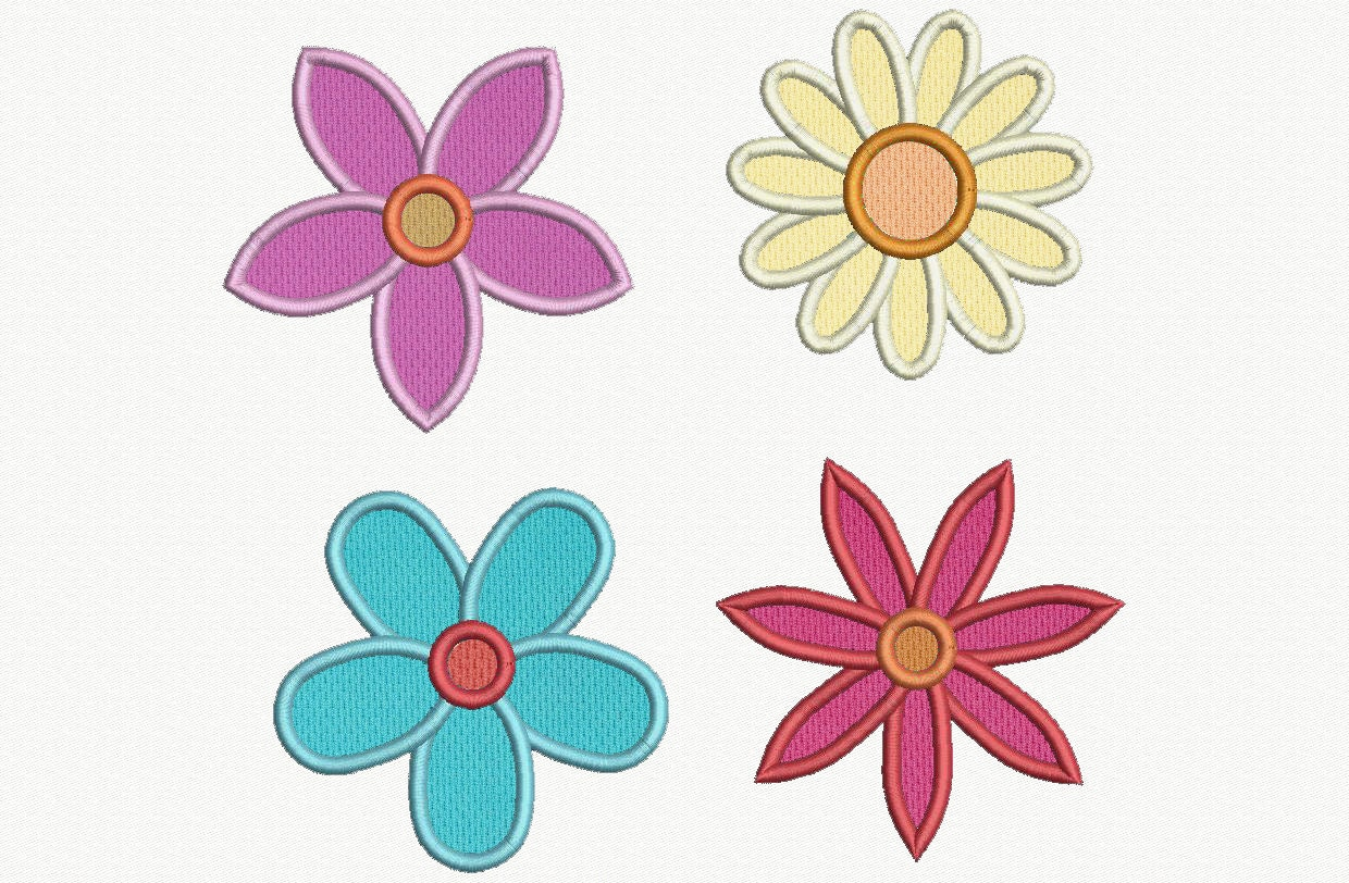 Flowers applique machine embroidery design designs by