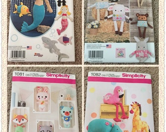 Simplicity patterns ,Stuffed animals sewing pattern , New Uncut Pattern , sewing supplies, crafts patterns