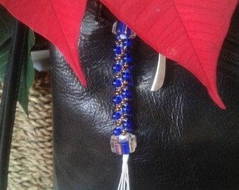 Handmade glass beads keychain, keychain gift, St-Valentin gift, businesswoman keychain, purse charm, blue cobalt keychain