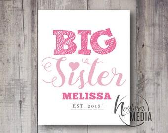 Big Sister Digital Art Print - Typography Quote Graphic Design Print - Kids Printable Wall Art - Customized Digital File - T-Shirt