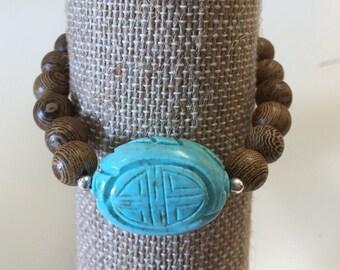 Carved Howlite & Wood Bracelet