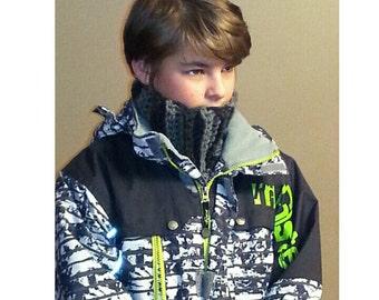 Black Grey Neck scarf for boy,Children's Neck Warmer