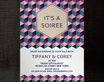 Soiree InDesign template party invitation A5 for birthday, engagement, corporate, events