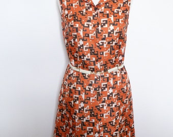 vintage - dress 70s belted GOUTILLE