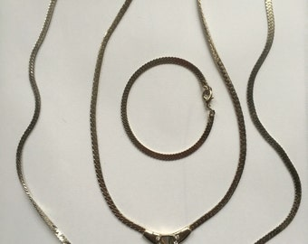 Vintage Flat Snake Chain Set of Two Necklaces and Bracelet