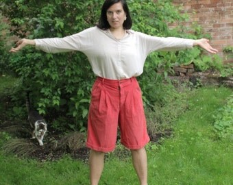 Laura Biagiotti Junior Vintage Coral Cord Culottes/Shorts/Cotton/Pleated/Slash Pockets/Front Zip