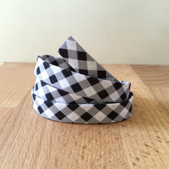 """Gingham Bias tape- 1/2"""" double-fold binding in black and white buffalo plaid check cotton- 3 yards"""