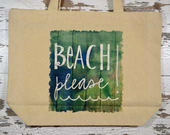 Beach Please Tote Bag, Large Canvas Zippered Tote Bag