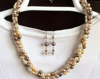 Twisted Pearl Necklace Set Multi Strand Pearl Necklace Freshwater Pearl Statement Necklace Multi Color Pearl Necklace Birthday Gift for Her