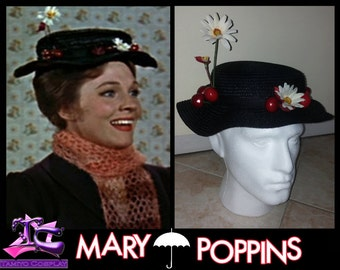 Mary Poppins Hat Nanny with daisy and cherries