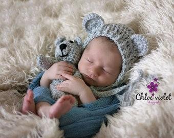 teddy bear bonnet,  hat with matching teddy, cream, grey, beige photo prop newborn