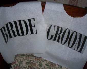 Cake Cutting Bibs!  For the Bride and Groom - 1 pair