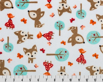 Minky Cuddle in Oh, Deer print with fawns in the woods from Shannon Fabric