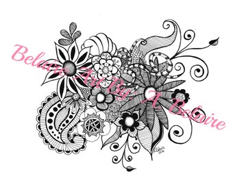 Belaire Art Zentangle Colorpage - Paisleys and Flowers