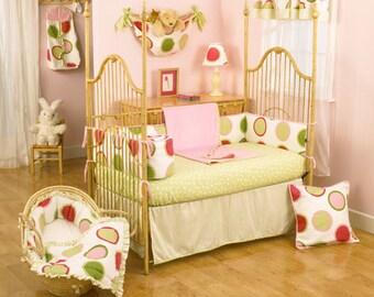 Pink and Green Dot 4 Pc Crib Set. FREE SHIPPING