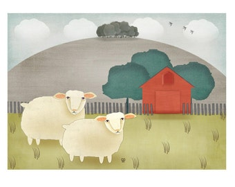 "Contemporary Folk Art Landscape Print - ""Hilltop Farm"""
