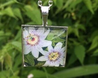 Passionflower Square Glass Cabochon Pendant
