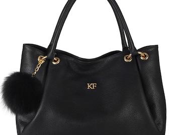 Leather Hobo Bag, Black Leather Hobo Bag, Women's Leather Hobo Purse KF-627